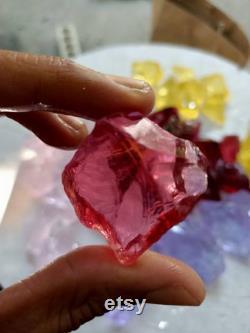1.5kgs(381)25-110gr medium big size mix 5 rare colours dark rapsberry,bright rapsberry,pink,purple,yellow of andara Crystal Monatomic