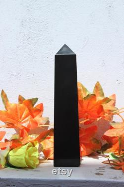 245MM Huge 4 Faceted Black Tourmaline Healing Charged Reiki Stone Crystal Stone Healing Power Oblisk Tower