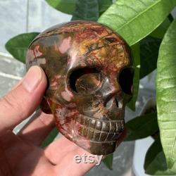 3.54Inch Natural high quality Ocean Jasper Crystal Skull Master hand carving skull decor Spiritual Reiki Healing Energy