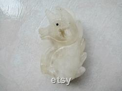 4.5 Frosted Clear Quartz Crystal Unicorn Head Carving 115mm 458g