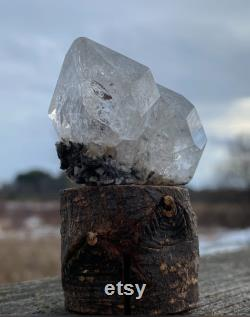 51g Double Herkimer Diamond on Attached Marcasite Dolomite Stand 11