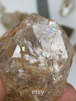 67g Fenster Quartz Cluster Skeletal Etchings Self healed Base Rainbow Clay Inclusions Window Quartz Pakistan