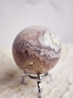 767g Pink Amethyst Crystal Sphere with stand, 83mm