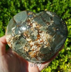 AAA Natural Large Ocean Jasper Heart Crystal Polished Palm Stones ball Chakra Reiki Meditation Special Gift Healing crystal