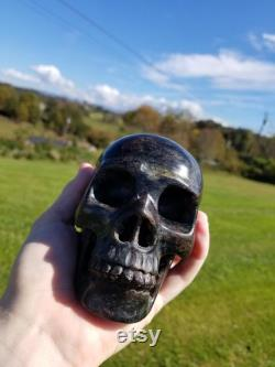 ASTROPHYLLITE Crystal Skull LARGE 5 Healing Crystals and Stones, Gothic Home Decor Halloween
