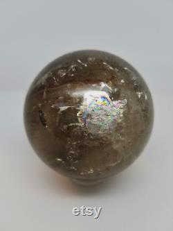 Amazing Rainbow Golden Rutilated Smokey Quartz Crystal Sphere, Crystal Ball, Rutilated Sphere, Smokey Quartz Sphere