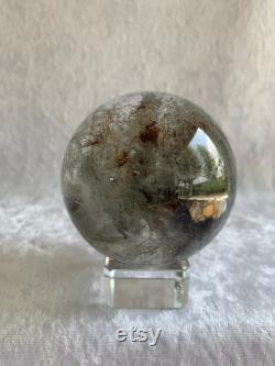 Amazing Super Clear Silver Garden Quartz Sphere with Rainbows and Stand