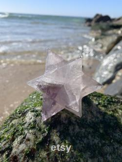 Amethyst Clear Quartz Crystal Stellated Dodecahedron Asteroid 12 Pointed Star Double Merkabah Sacred Geometry Platonic Solid Reiki