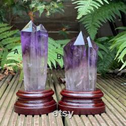 Amethyst Root, Polished Amethyst point with rainbows, Amethyst point with stand, Amethyst wand, crystal for calm, spirituality