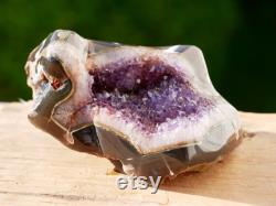 Amethyst Wave XL Amethyst Geode 7'' charging bowl Agate edges polished gift for crystal healers 1540 grams