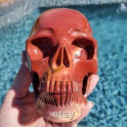 Australian Mookaite Carved Crystal Skull-Crystal Skull-Realistic Crystal Human Skull-Decision Making
