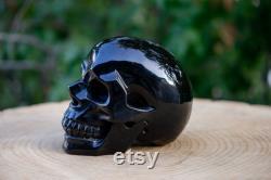 Black Obsidian Crystal Skull Large Hand Carved 4.5 Volcanic Glass Healing Crystal Gemstone Skull