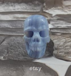 Blue Lace Agate Crystal Skull