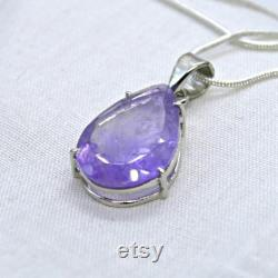 Brandberg Amethyst 925 Silver Pendant Genuine, Rare Namibia Stone Faceted High Quality Lavender- Purple Crystal