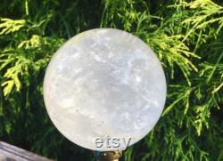 Clear Quartz Large 1 Lb. 4 oz. Crystal Ball 2 Wide Polished Sphere Beautiful Altar Display Stunning Silver and Rainbow Inclusions