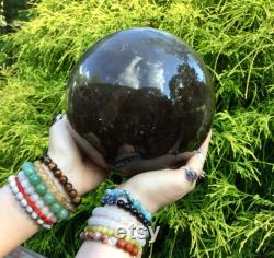 Clear Smokey Quartz Large 16 Lb. 13 oz. Crystal Ball 6 1 2 Wide Ultra Transparent Sparkling Inclusions Big Polished Sphere Stunning