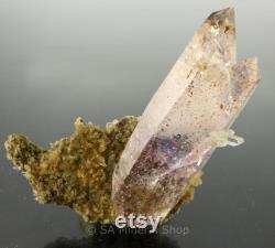 Doubly Term Red Hematite and Amethyst Quartz, Gobobosebberge Mnt, Namibia