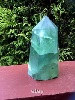Electric Glowing Blue and Green Fluorite Crystal Large 13 oz. Generator 4 Tall Rainbow Inclusions Metallic Flashes Fast Free Shipping
