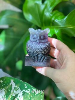 Fluorite Owl Rainbow Fluorite owl crystal healing fluorite crystal owl carving hand carved owl display piece decoration for home owlette