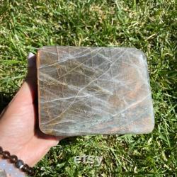 Golden Labradorite Freeform, Large Self-Standing Labradorite Crystal, Natural Labradorite Free Form, GLF2