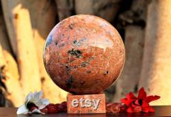 Huge 230MM Natural Pink Rosophia Stone Chakra Metaphysical Meditation Healing Power Sphere
