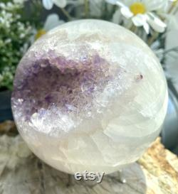 Large A 3.75 Amethyst Geode Crystal Sphere Ball Purple Agate Sphere Graft and Gift Attracts Wisdom, Love, Peace of mind