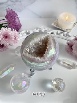 Large Aura Agate Druzy Sphere Opal Aura Geode Crystal Ball Large Crystal Druzy Agate Sphere