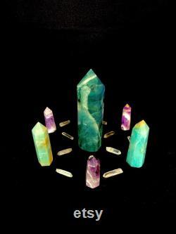 Large Green Fluorite Crystal Grid for Manifestation- Chevron Amethyst, Amazonite, Quartz