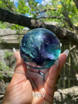 Large High Quality Emerald Green Fluorite Sphere, Rainbows, Green Fluorite, Crystal Ball, Sphere, Gemmy Gem