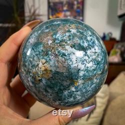Large Teal Ocean Jasper Sphere With Stand, Crystal Sphere