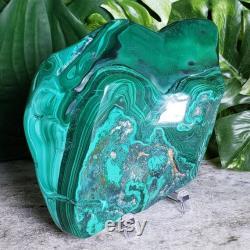 Malachite Slab Large 6.5 Polished Stunning Green African Malachite Stone, Heart Chakra, Healing Crystals, Green Malachite Slice
