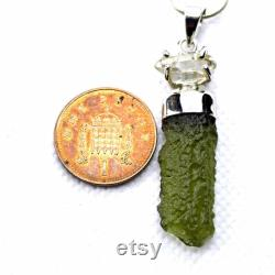 Moldavite Herkimer Diamond Quartz Sterling Silver Pendant Genuine Czech Green Tektite Holy Grail Spiritual Development Tool