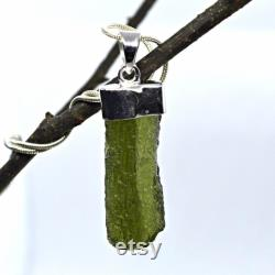 Moldavite Solid Sterling Silver Chunky Pendant Necklace Natural Genuine Green Czech Tektite Reiki-Charged Holy Grail For Men or Women