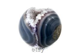 Multitudes of Agate Banding Surrounding Amethyst Sphere