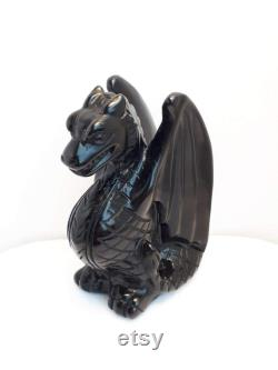 Natural Black Obsidian Carved Dragon Figurine, Black Obsidian Winged Dragon Statue, Black Obsidian Carved Crystal Elemental 960mm 247g