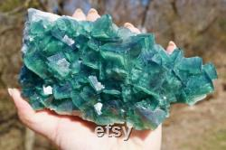 Natural Green Cubic Fluorite Specimen from Madagascar