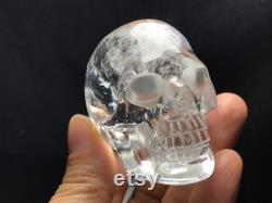 Natural Quartz Crystal Skull,Skull Rainbow Carved, Hand Carved Quartz Skull, Spiritual Healing Energy