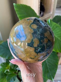Ocean Jasper sphere, orb, ocean jasper, fossil, minerals, marovato, old stock