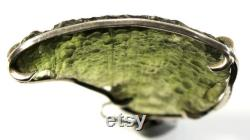 Old pendant with a large, curved and undamaged moldavite, silver 900, old work of a Czech goldsmith Big nice pendant, 8 grams, 50 42x35x4mm