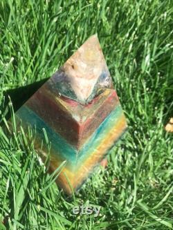 Orgonite Chakra Balancing Pyramid Home Protection, Extra Large EMF Protection Rainbow Pyramid