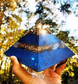 Orgonite Orgone Generator Pyramid Ultrasonic Crystal Crown 24k Gold, Elite Shungite, Tourmaline, Magnetite, Smoky Quartz