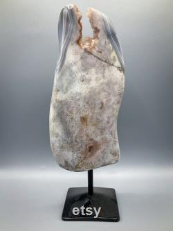Pink amethyst with agate display large rare high quality crystal specimen on metal stand home decor crystals