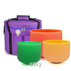 Quartz Crystal Colored Singing Bowls Set Including 7 bowls Sizes 6 12 432 Hz Two Carrier Bags