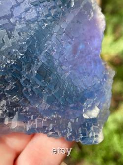 Rare Beveled Blue Fluorite from Yaoganxian, China, Fractal Fluorite Cluster