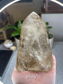 Rare Large Natural Citrine Tower with Limestone Inclusion 1lb 10oz and over 5 inches tall Brazil Citrine