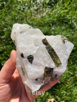 Raw Green Tourmaline crystal in raw Quartz Crystal raw green Tourmaline Stone raw quartz stone Tourmaline matrix healing crystals 20