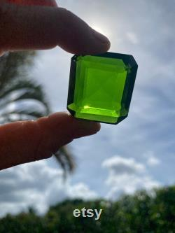 Real Genuine POWERFUL 96 Cts Polished Moldavite Gem, Slight Scratches Dark Green Color Faceted Czech Tektite Crystal Stone Cabochon Gemstone