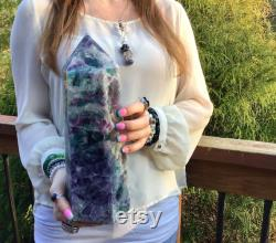 SOLD OUT Reserved for Kathryn Payment 1 of 2 Fluorite Crystal Quartz Large 12 lb. 12 oz. Generator 12 Tall Rainbow Purple