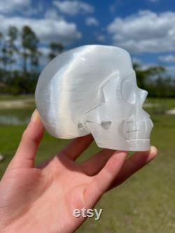 Selenite Skull Recharging Cleansing Crystals Connection, Clarity Crown Chakra