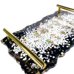 Serving Tray Orgonite Set with 3 Charging Plate Coasters Howlite White Turquoise 24k Gold Elite Shungite EMF Protection